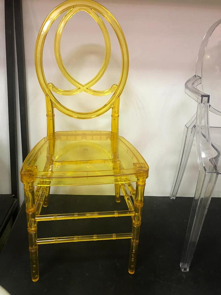 plastic see through chair cafe chairs wooden yellow junk mail
