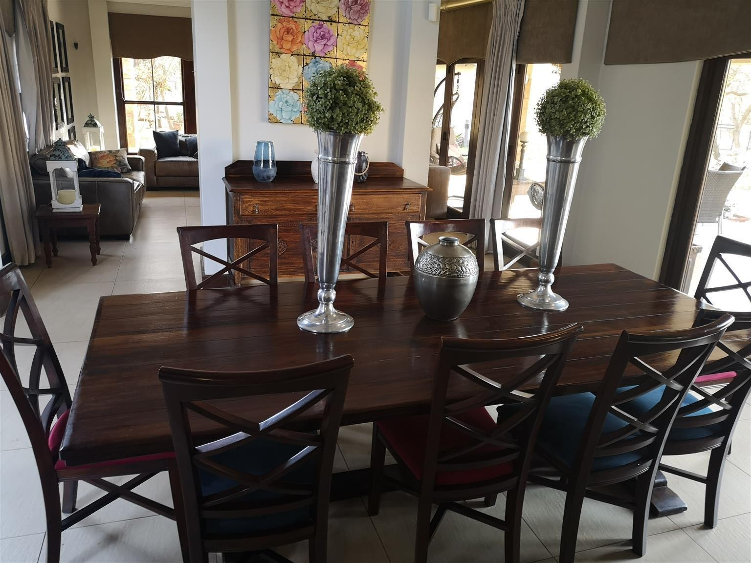 10 Seater Saligna Wood Dining Table Chairs And Side Board Junk Mail
