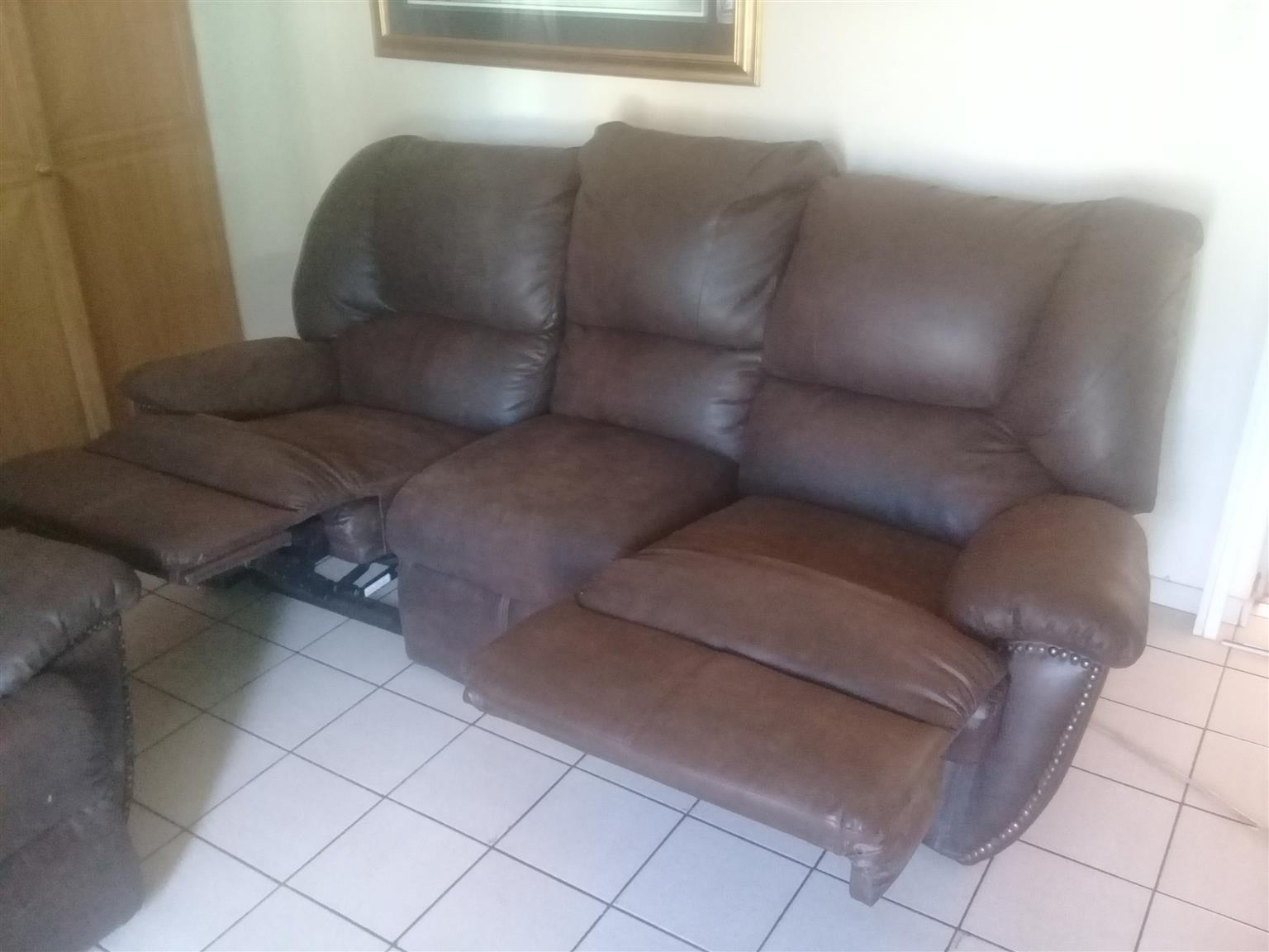 genuine leather chair barrel slipcover two couches junk mail