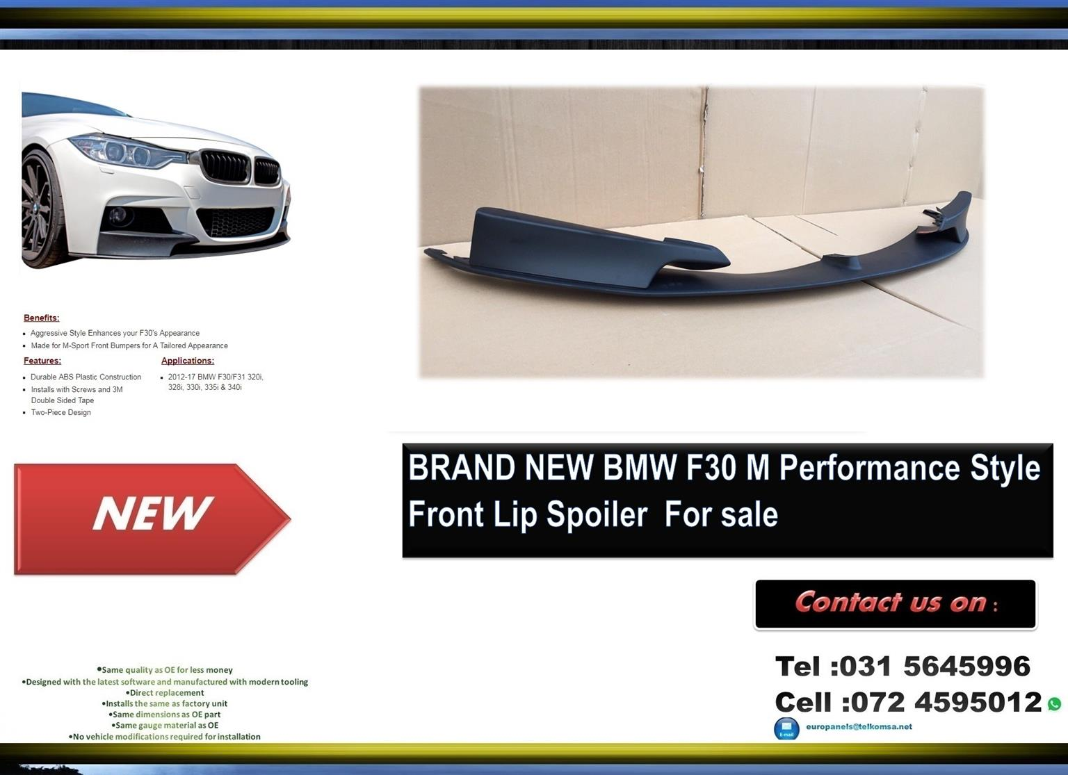 hight resolution of bmw f30 brand new plastic m performance style front lip spoiler for sale price
