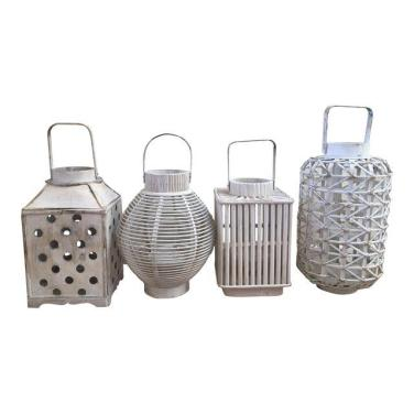 shabby chic white wooden lanterns