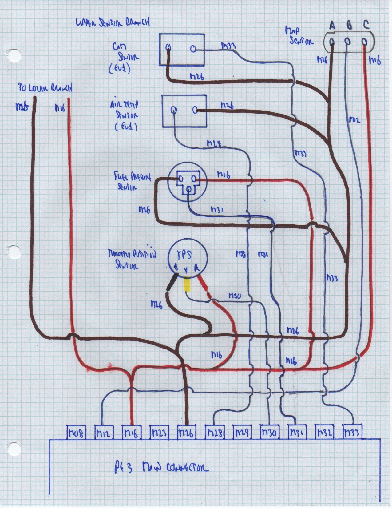 small resolution of upper sensor branch wiring diagram junk yard zetec i bundled the wiring for the sensors that