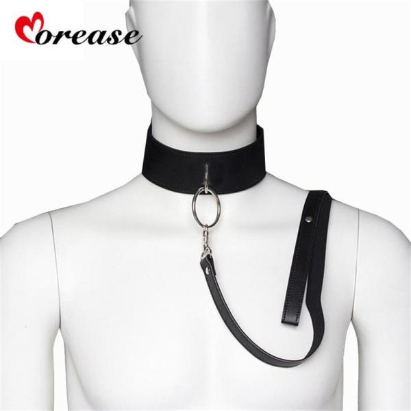 Leather Slave Bondage Collar and leash Neck Dog Collar