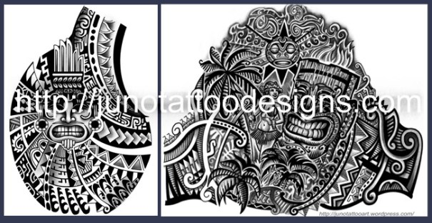 Warrior Polynesian Chest Tattoo Designs