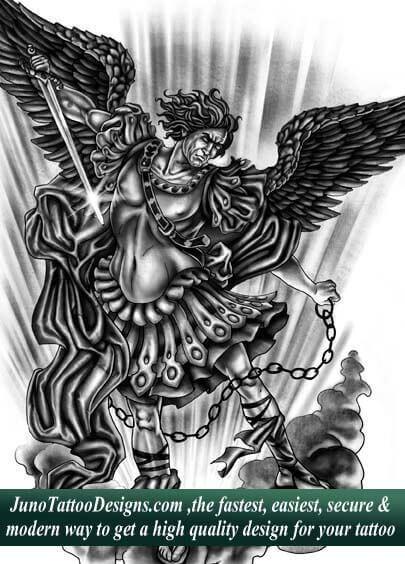archangel tattoo, custom tattoo, tattoo designer sample