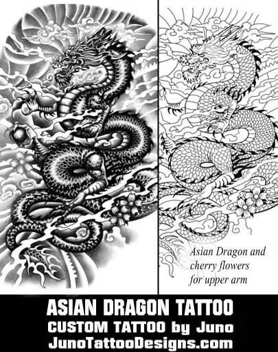 Asian dragon tattoo tattoo template by juno tattoo for Custom tattoo armrest for sale
