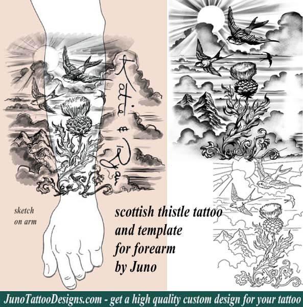 Scottish thistle tattoo forearm tattoo idea how to for Custom tattoo armrest for sale
