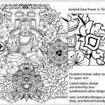 stylized lotus flower - tibetan style tattoo template