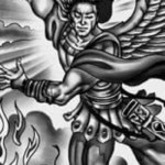 angel versus demon tattoo, sleeve tattoo, archangel tattoo, warrior angel tattoo, juno tattoo designs