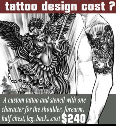 how does much a tattoo cost, archangel tattoo, juno tattoo design