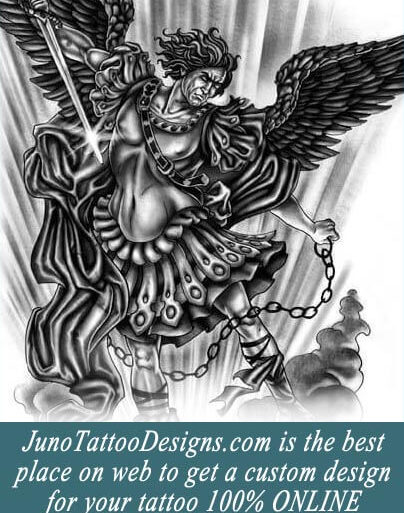 archangel tattoo, angel tattoo, juno tattoo designs, custom tattoo