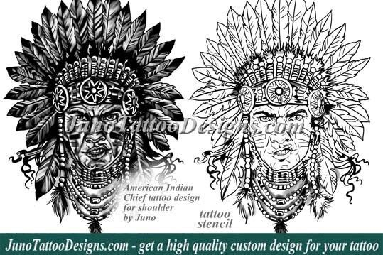 american indian tattoo, indian chief tattoo, tattoo design, tattoo stencil, junotattoodesigns