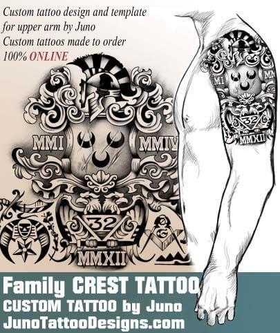 family crest tattoo, coat of arms tattoo, masonic symbols tattoo, juno tattoo designs