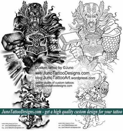 Epic tattoos, Norse Mythology tattoo, arm tattoo template, Thor tattoo, Mjölnir tattoo, hammer of Thor tattoo, Hugin tattoo , Odin crow tattoo, valkyrie tattoo, forearm tattoo, juno tattoo designs