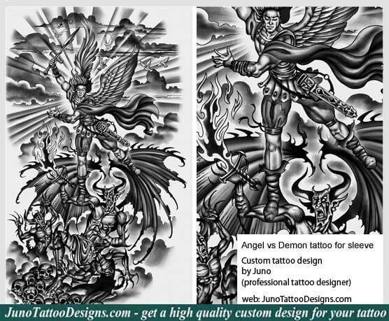 angel versus demon tattoo, sleeve tattoo, archangel tattoo, warrior angel tattoo, juno tattoo designs