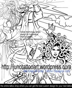 greek mythology tattoo-stencil detail by Juno