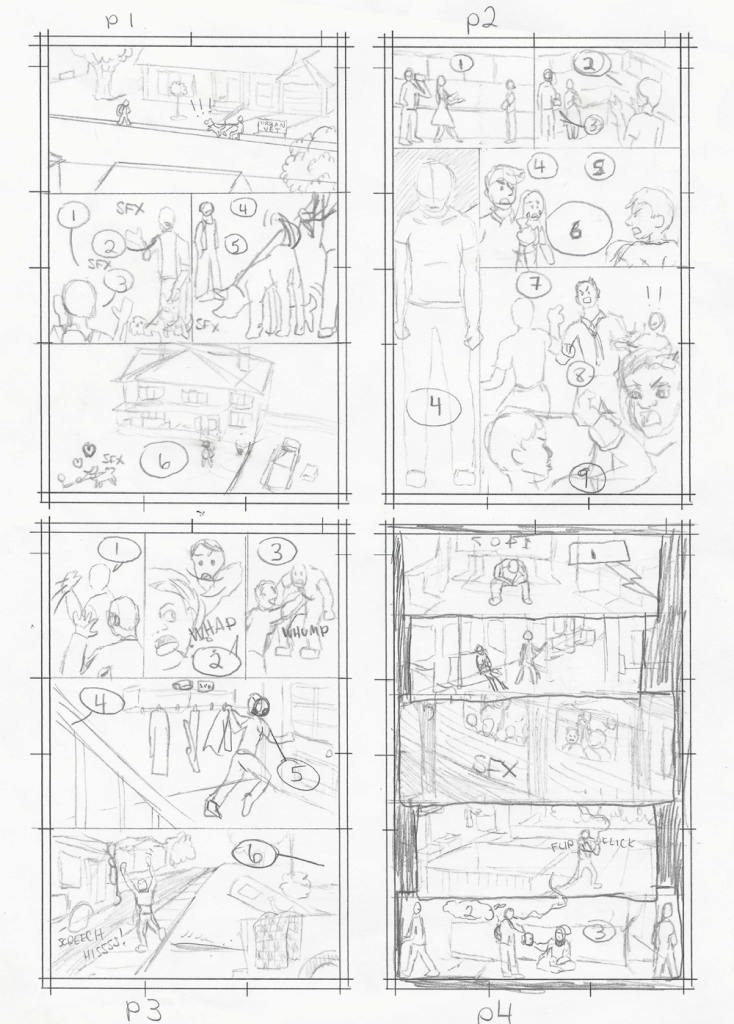 Strays Pencils, Pages 1 through 4