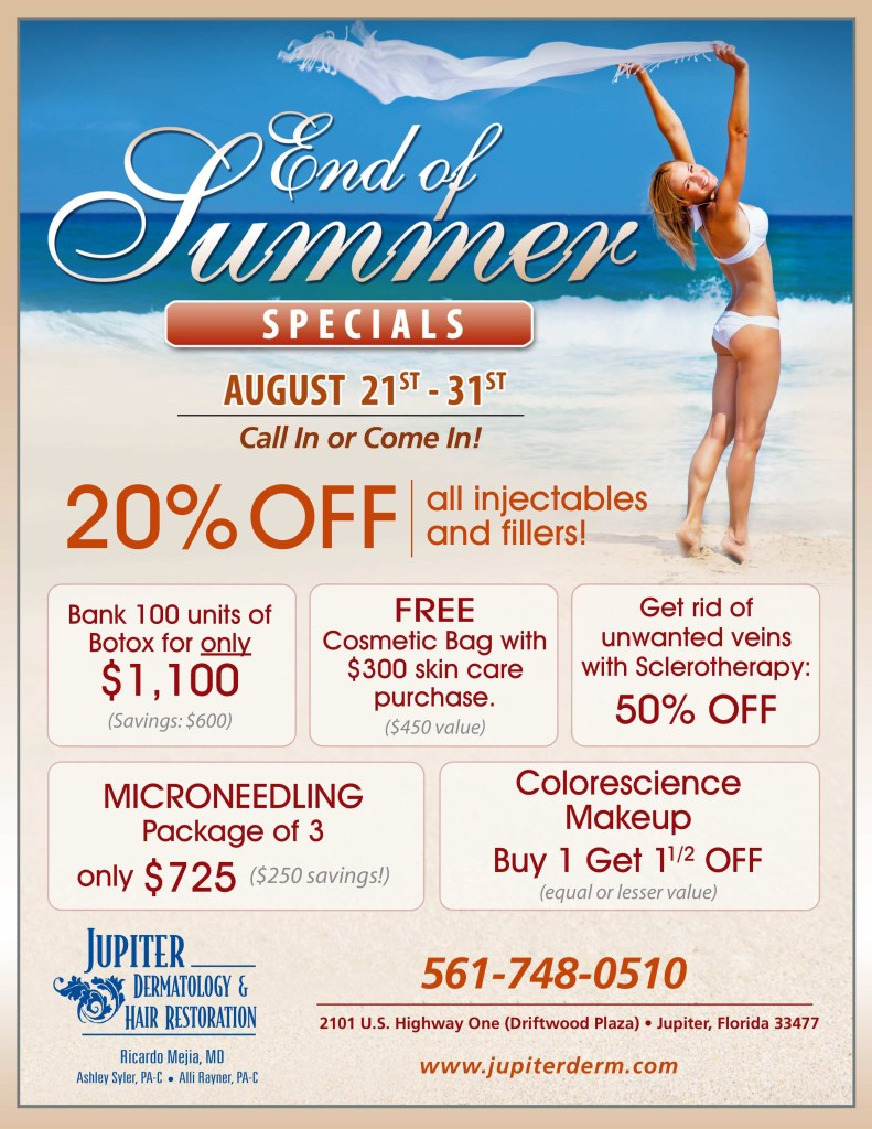 Save more money on cosmetic treatments and procedures with Jupiter Dermatology.