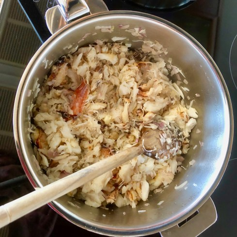 Shallots and crab meat sautéed in butter