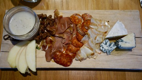 Breakfast Board: Charcuterie, saucisson, chicken liver parfait, artisan cheeses with honey, house pickles and ferments