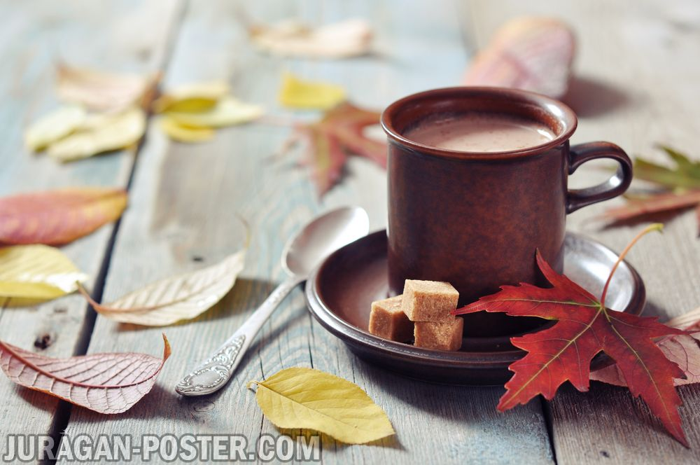Fall Wallpaper Cute A Cup Of Coffee On The Autumn Background Jual Poster Di