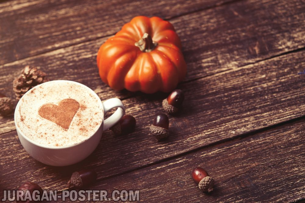 Fall Pumpkin Hd Wallpaper A Cup Of Coffee On The Autumn Background Jual Poster Di