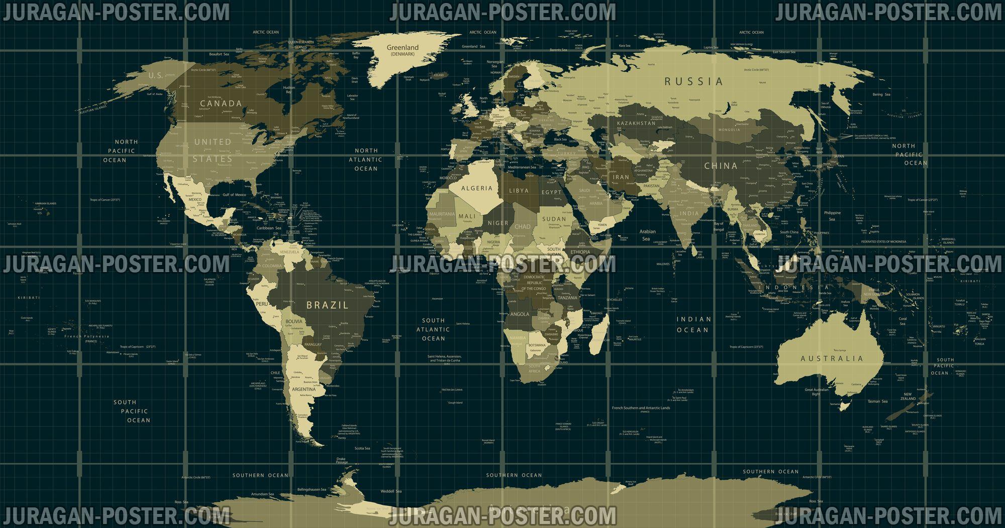 World Map  peta Dunia  Jual Poster di Juragan Poster