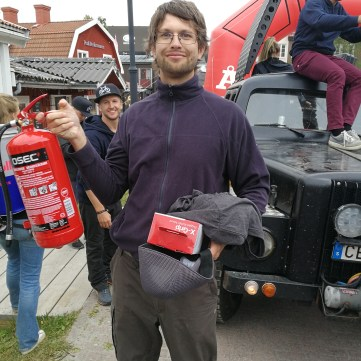 Åre bike festival - Sarunas receiving his prizes for winning - The burning logs competition