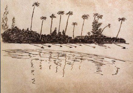 My grandfather's sketch of Ngapali Beach in 1934