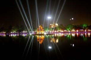 Hoan Kiem Lake all lit up