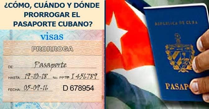 Trámites sobre el pasaporte cubano. Prorrogar