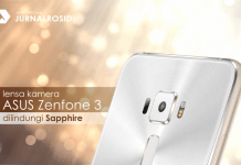 Lensa kamera ASUS Zenfone 3 dilindungi Sapphire
