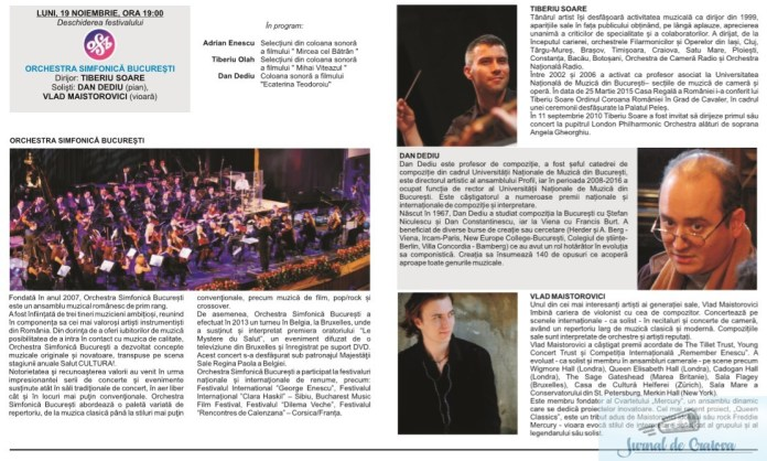 """Filarmonica Oltenia Craiova : DE ASTAZI INCEPE FESTIVALUL INTERNATIONAL """"CRAIOVA MUZICALA"""" Editia 45 Romaneasca (19 noiembrie – 1 decembrie 2018) 3"""