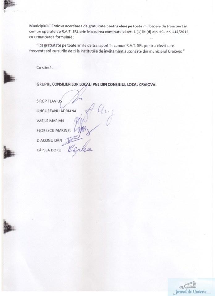 Consilierii municipali PNL Craiova au depus o initiativa de consiliu pentru ca elevii sa beneficieze de gratuitate pe toate mijloacele de transport in comun operate de R.A.T. SRL 2
