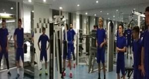 Fotbal : Antrenament la sala pentru jucatorii echipei Universitatea Craiova. Maine amical cu Fc Rukh Brest 3