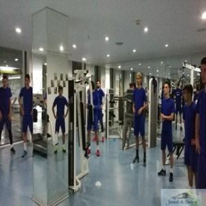 Fotbal : Antrenament la sala pentru jucatorii echipei Universitatea Craiova. Maine amical cu Fc Rukh Brest 1