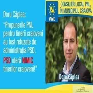 Doru Caplea, consilier local PNL in municipiul Craiova: PSD ofera NIMIC tinerilor craioveni!