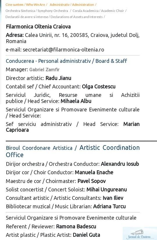 Cine organizeaza, alaturi de managerul Gabriel Zamfir, concertele si evenimentele culturale de la Filarmonica Oltenia Craiova? 3
