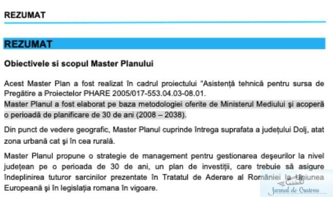 Master Planul deșeurilor din Județul Dolj al PSD 1