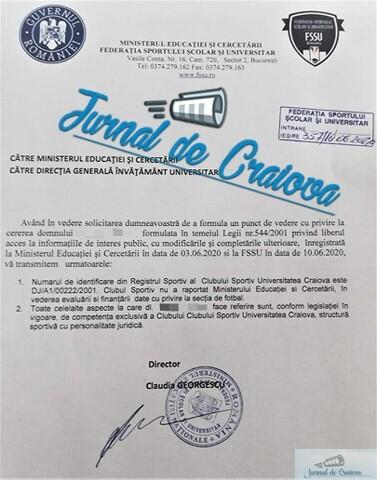 Editorial : Legea in Romania aruncata la GUNOI ! Clubul Sportiv Universitatea Craiova nu a avut si nici nu are sectie de FOTBAL ! 1