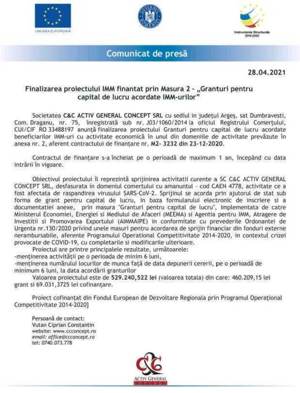 """Finalizarea proiectului IMM finantat prin Masura 2 – """"Granturi pentru capital de lucru acordate IMM-urilor"""" 2"""