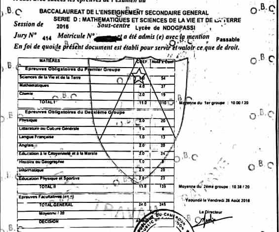 La présenttexte pour traduction officielle, assermentée et certifiée en l'occurance un diplome de baccalaureat