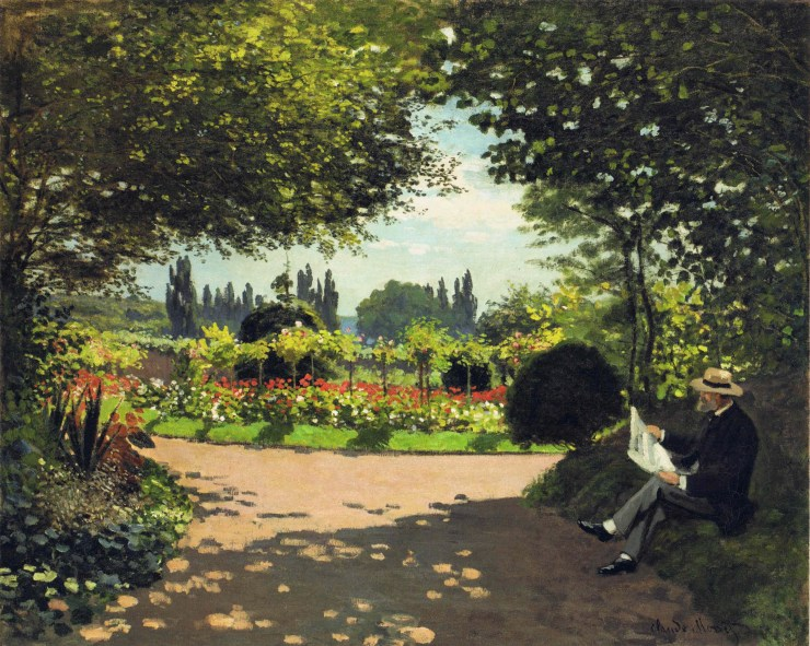 Adolphe Monet Reading in the Garden by Claude Monet