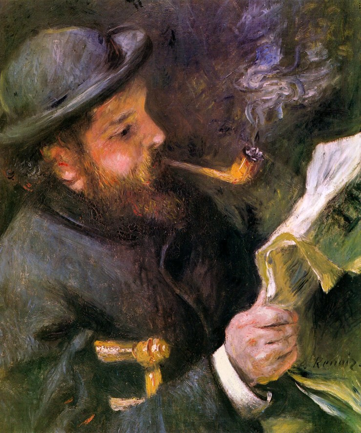 Claude Monet Reading by Pierre Auguste Renoir