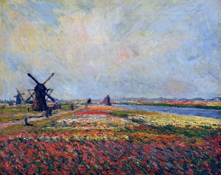 Fields of Flowers and Windmills near Leiden by Claude Monet