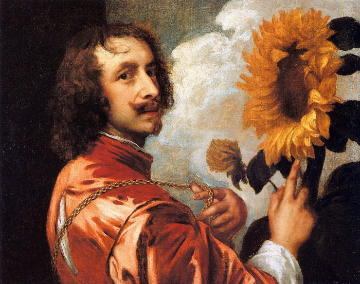 Self-Portrait with a Sunflower by Antoon van Dyck