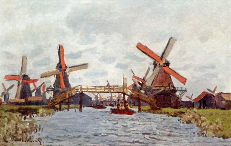 Windmills Near Zaandam by Claude Monet
