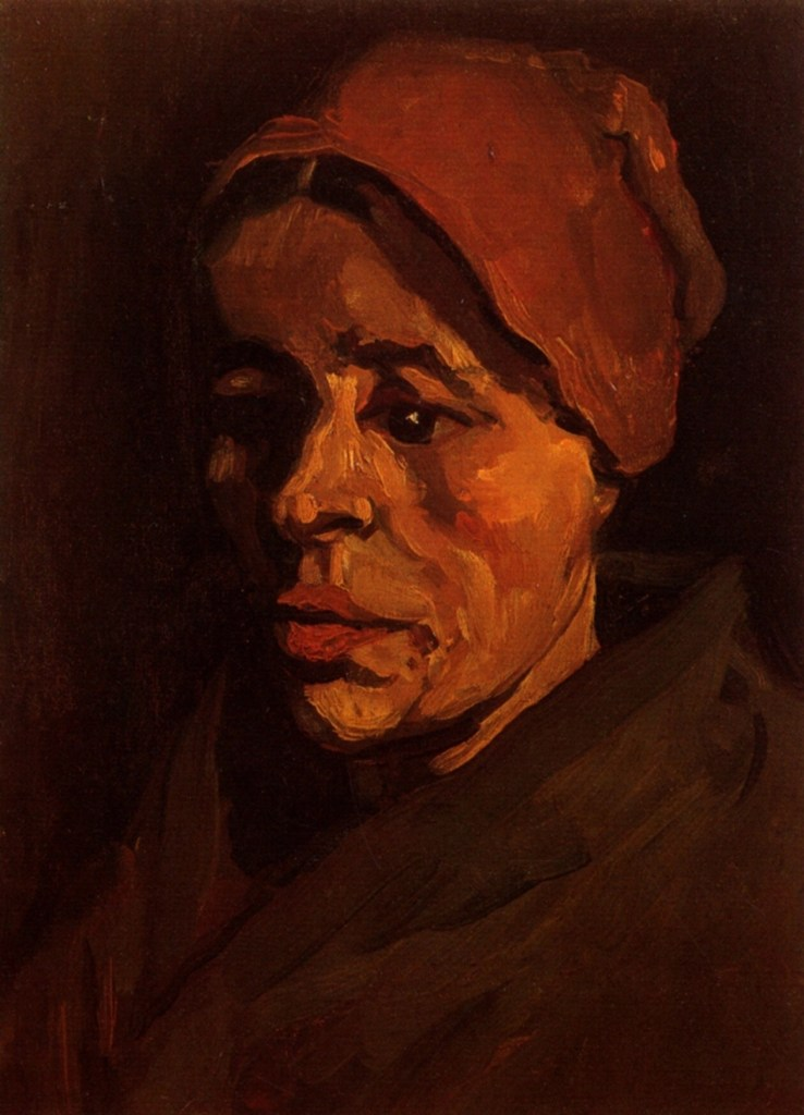 Head of a Peasant Woman with Brownish Cap by Vincent van Gogh