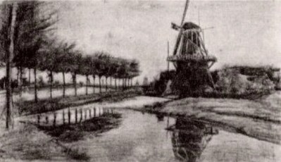 Landscape with Windmill by Vincent van Gogh