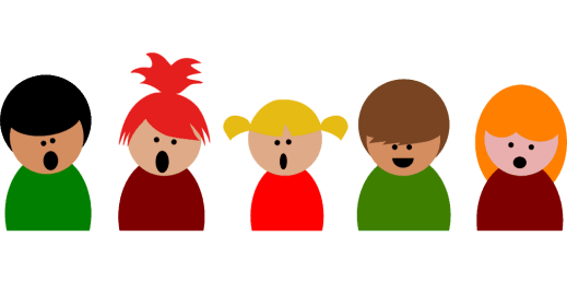 Singing children in how to teach something using a song